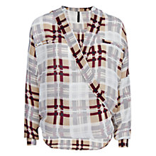 Buy Mango Check Wrap Blouse, Natural White Online at johnlewis.com