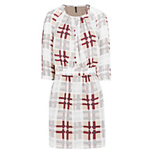 Buy Mango Checked Flowy Dress, Natural White Online at johnlewis.com