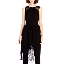 Buy Warehouse Lace Insert Midi Dress, Black Online at johnlewis.com