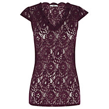 Buy Oasis Lace V-Neck T-shirt, Burgundy Online at johnlewis.com