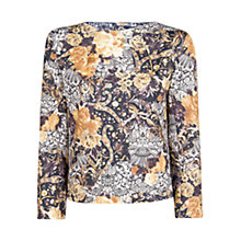 Buy Mango Baroque Print Blouse, Black Online at johnlewis.com