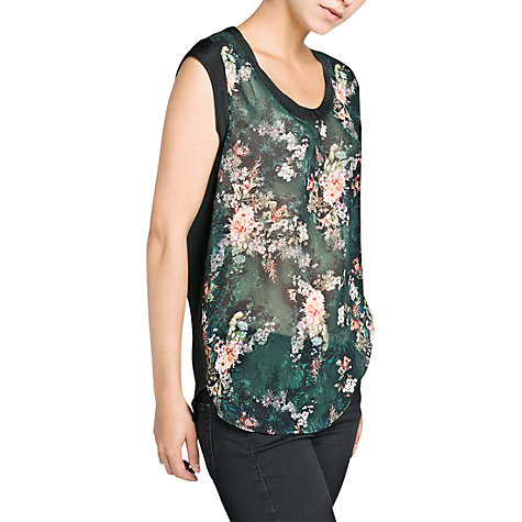 Buy Mango Contrast Floral Print Top, Black Online at johnlewis.com