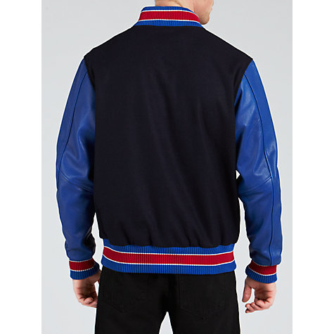 Buy Franklin & Marshall Leather Sleeve Baseball Jacket, Navy Online at johnlewis.com