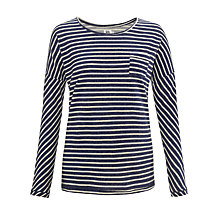 Buy Kin by John Lewis Reverse Striped Top, Navy Online at johnlewis.com