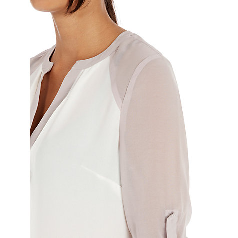 Buy Warehouse Colour Block Sleeve Blouse, Cream Online at johnlewis.com