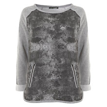Buy Mint Velvet Grey Mottled Print Sweat Top, Grey Online at johnlewis.com