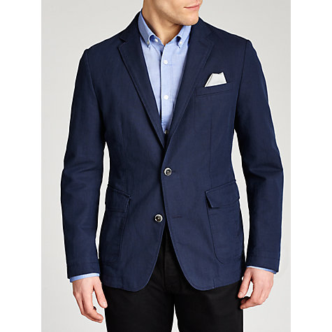 Buy Boss Black Medvin Washed Cotton Linen Jacket, Navy Online at johnlewis.com
