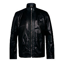 Buy BOSS Alekson Goatskin Leather Jacket Online at johnlewis.com