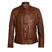 Buy BOSS Niwen Leather Jacket, Brown Online at johnlewis.com