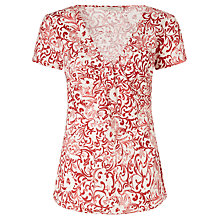 Buy John Lewis Capsule Collection Print Knot Front Linen Blouse, Red/White Print Online at johnlewis.com