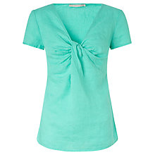 Buy John Lewis Capsule Collection Knot Front Linen Blouse, Pool Green Online at johnlewis.com
