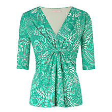 Buy John Lewis Capsule Collection Printed Jersey Knot Top, Green Online at johnlewis.com