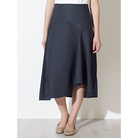 Buy John Lewis Capsule Collection Linen Waterfall Skirt, Navy Online at johnlewis.com