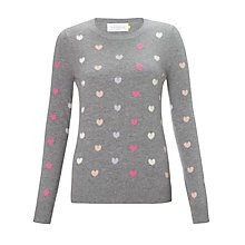 Buy Collection WEEKEND by John Lewis Mini Heart Jumper, Grey/Pink Online at johnlewis.com