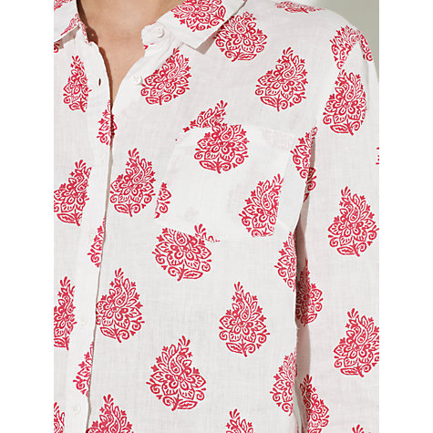 Buy John Lewis Paisley Print Linen Shirt, Pink/White Online at johnlewis.com