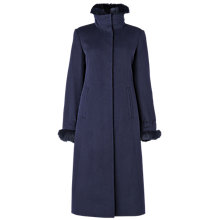 Buy Jaeger Faux Fur Trim Coat, Blue Online at johnlewis.com