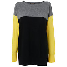 Buy Jaeger Cashmere Colour Block Jumper, Black Online at johnlewis.com