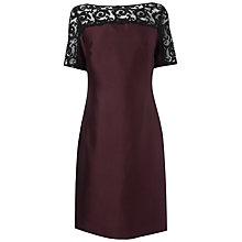 Buy Jaeger Lace Detail Dress, Dark Purple Online at johnlewis.com