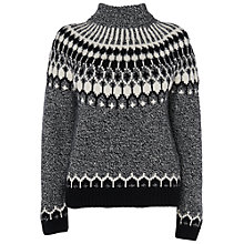 Buy Jaeger Roll Neck Intarsia Jumper, Black Online at johnlewis.com