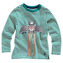 Buy Little Joule Long Sleeved Striped Applique Top, Green Online at johnlewis.com