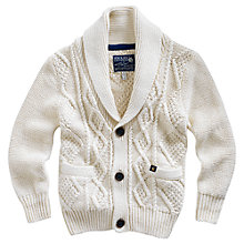 Buy Little Joule Teddy Shawl Neck Cardigan, Cream Online at johnlewis.com