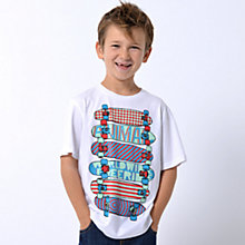 Buy Animal Boys' Hugus Skateboard Print T-Shirt, White Online at johnlewis.com