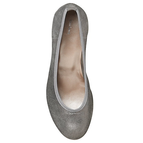Buy John Lewis Jameo-Sin Suede Cone Heel Court Shoes, Silver Online at johnlewis.com