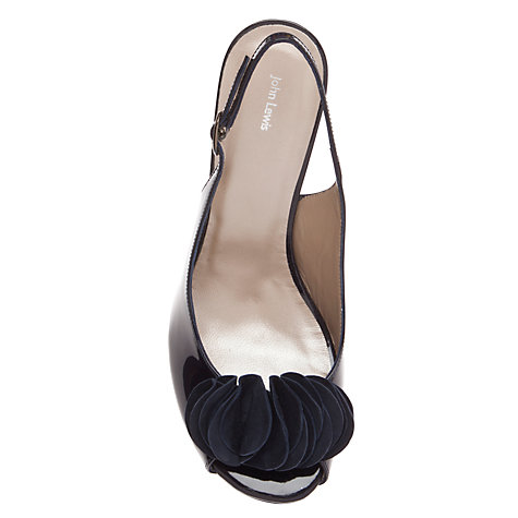 Buy John Lewis Taska Peep Toe Sling Back Wedge Sandals, Navy Online at johnlewis.com