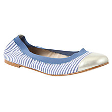 Buy Collection WEEKEND by John Lewis Patrol Scrunched Ballerina Pumps, Blue Stripe Online at johnlewis.com
