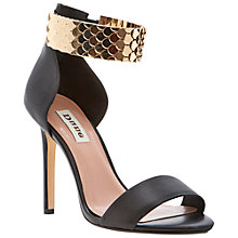 Buy Dune Huffy Leather Metallic Scale Strap Sandals, Black Online at johnlewis.com
