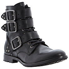 Buy Dune Peeter Leather Statement Strap Biker Boots, Black Online at johnlewis.com
