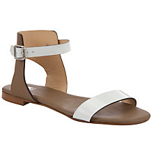 Buy Kin by John Lewis Two Leather Ankle Strap Sandals, White/Tan Online at johnlewis.com