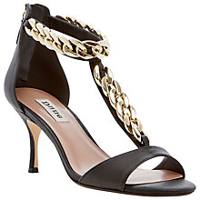 Buy Dune Heroine Leather Chain Trim Kitten Heel Sandals, Black Online at johnlewis.com