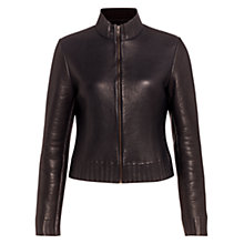Buy Jigsaw Leather Jacket, Navy Online at johnlewis.com