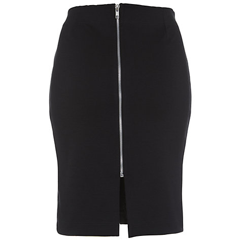 Buy Miss Selfridge Zip Ponte Skirt, Black Online at johnlewis.com