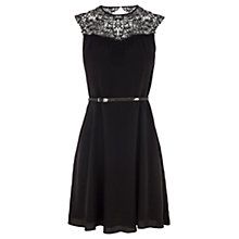 Buy Oasis Lace Neck Skater Dress, Black Online at johnlewis.com