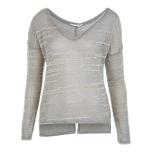 Buy Miss Selfridge Fluffy V-Neck Top, Light Grey Online at johnlewis.com