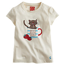 Buy Little Joule Girls' Maggie Cat T-Shirt, Cream Online at johnlewis.com