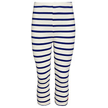 Buy Little Joule Girls' Runaround Stripe Cropped Leggings, Blue/Cream Online at johnlewis.com