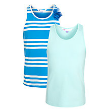 Buy John Lewis Girl Plain & Stripe Corsage Vests, Pack of 2, Blue Online at johnlewis.com