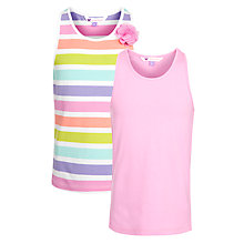 Buy John Lewis Girl Plain & Stripe Corsage Vest, Pack of 2, Pink/Multi Online at johnlewis.com