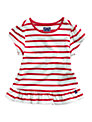 Little Joule Girls' Meadow Stripe Top, Red