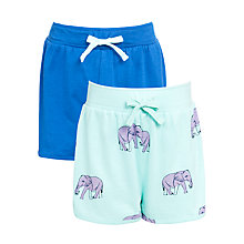 Buy John Lewis Girl Plain & Elephant Print Shorts, Pack of 2, Blue/Turquoise Online at johnlewis.com
