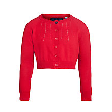 Buy Little Joule Girls' Sansley Cotton Cardigan, Red Online at johnlewis.com
