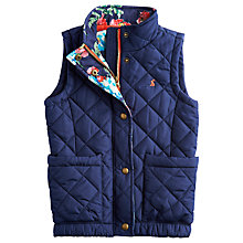 Buy Little Joule Girls' Lowen Quilted Gilet, Navy Online at johnlewis.com