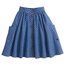 Buy Little Joule Girls' Michelle Polka Dot Chambray Skirt, Blue Online at johnlewis.com