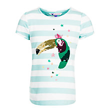 Buy John Lewis Girl Sequin Toucan Stripe T-Shirt, Blue/White Online at johnlewis.com