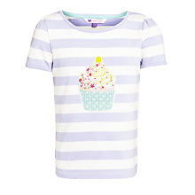 Buy John Lewis Girl Stripe Cupcake T-Shirt, Lilac/White Online at johnlewis.com