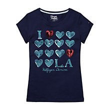 Buy Tommy Hilfiger Girls' LA Sequin 'Heartbreak' T-Shirt, Turquoise Online at johnlewis.com