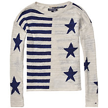 Buy Tommy Hilfiger Girls' Lina Jumper, Navy/Cream Online at johnlewis.com